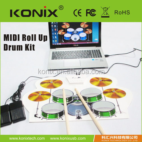 the sound as real drum set, electric usb midi roll up drum