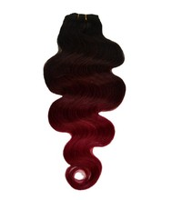 Hot selling celebrity ombre red human remy hair bundles body wave texture affordable price
