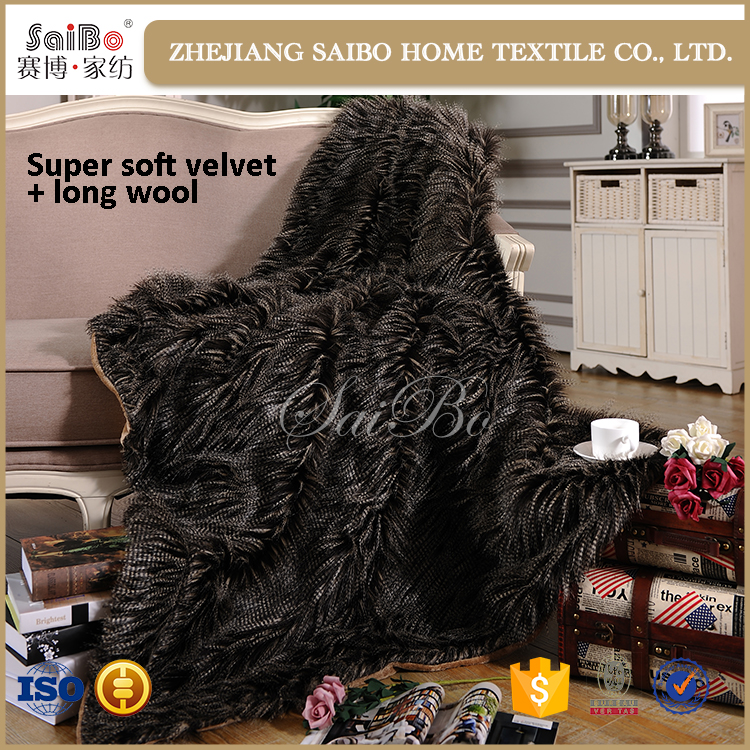 New Design Wholesale Faux Fur Throw cheap hot selling printed blanket