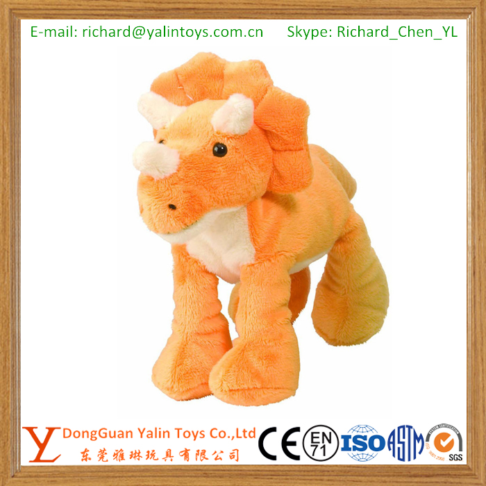 Orange Triceratops Stuffed Animal