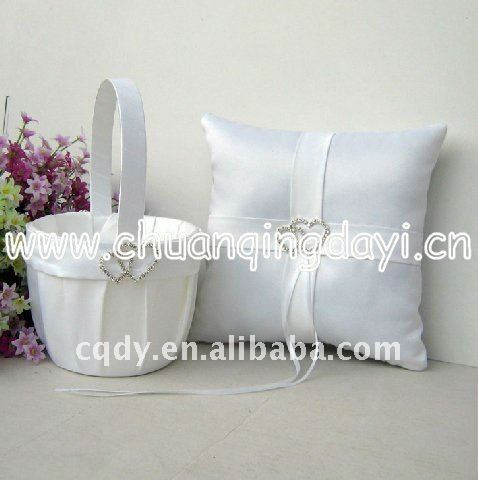 Double diamond wedding ring pillow and flower basket sets/wedding supplies/wedding ring pillow/
