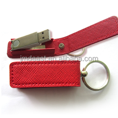 leather usb flash drive with keyring, classic design top quality leather usb pen drive