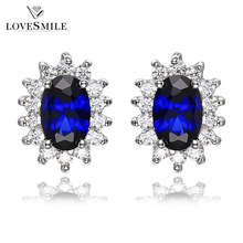 Handmade jewelry manufacturing 925 sterling silver stud blue sapphire earrings in bulk
