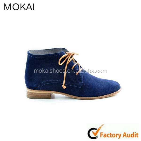 MK031-1-Blue lady fashion wholesale design shoe with lace and nide heel