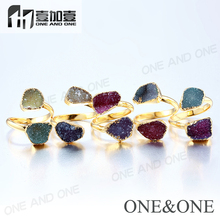 Latest Gold Ring Designs Druzy Stones Ring Wholesale Silver / Gold plated Fashion Jewelry 2018
