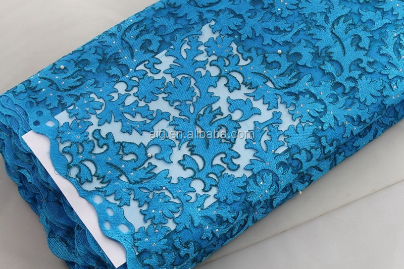 latest teal french lace fabric 2016 for wedding