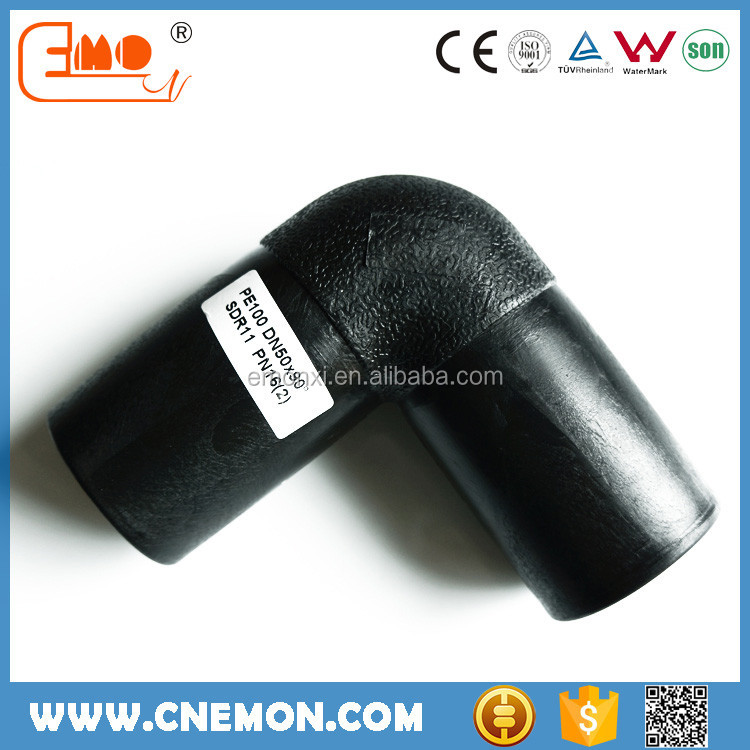 Water supply HDPE butt fusion plastic 90 elbow