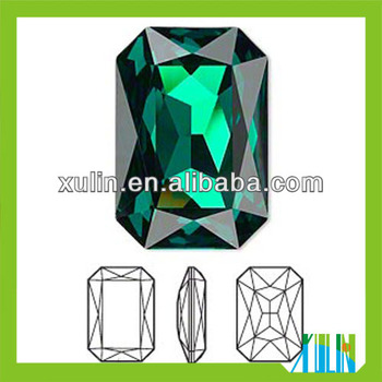 Faceted Glass Foiled Back Jewels Emerald Octagon Rectangle