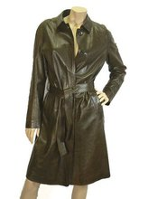 Chocolate Butter Soft Leather Belted Coat