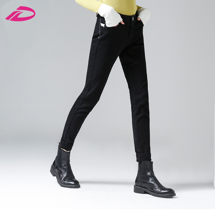 Cheap Autumn New Arrival Women's Slim Solid Black Pencil Female Full Length Fashion Jeans