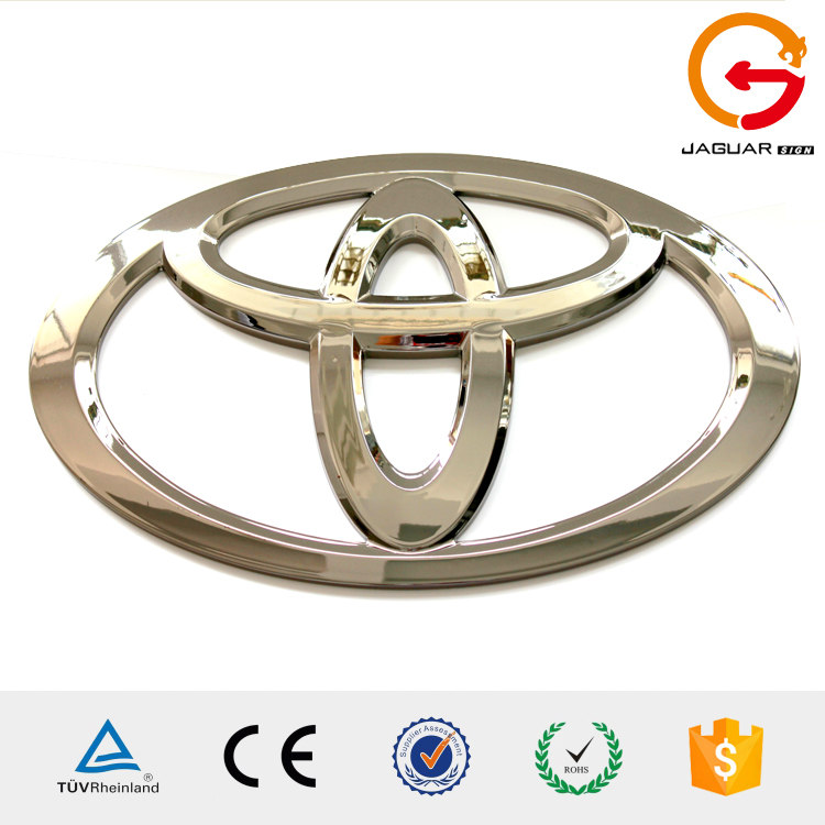 Toyota acrylic front light led luminous chrome car logo for out door decorative shop use