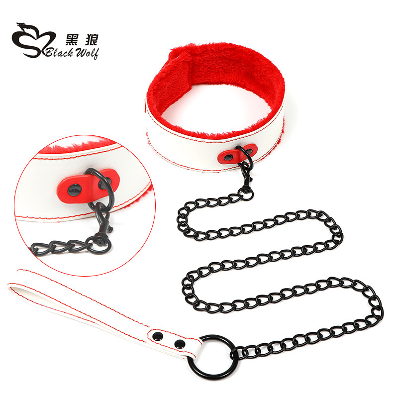 Black wolf newest Eco-friendly PU male bondage collar sex toys for man and woman wholesale male sex bondage collar