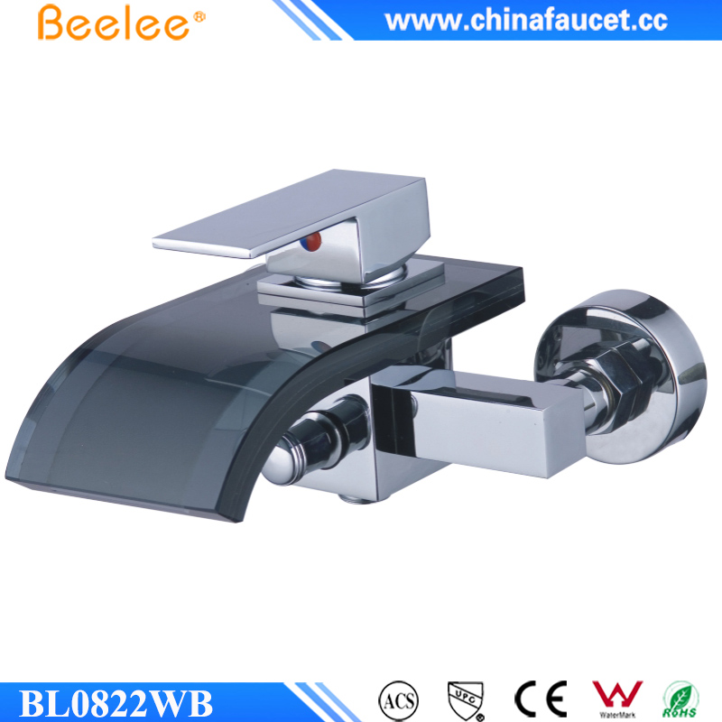 Beelee BL0822WB Hotel Bath Mixer Taps Wall Mounted Glass Waterfall Bath Faucet