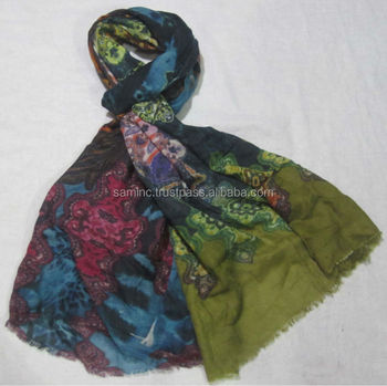 New 100% Digital Printed Wool Shawls exports from India