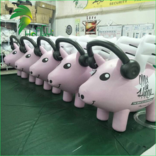 Event Decoration Air Music Type Pig Balloon / Advertising Display Pink Inflatable Animal Pig Replica