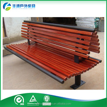 New Hot Outdoor Camphor Solid Wood Metal Leg Garden Bench With Backrest