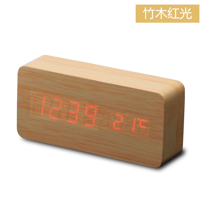 Desktop Table Digital LED Square Wooden alarm clock with temperature display and voice control function