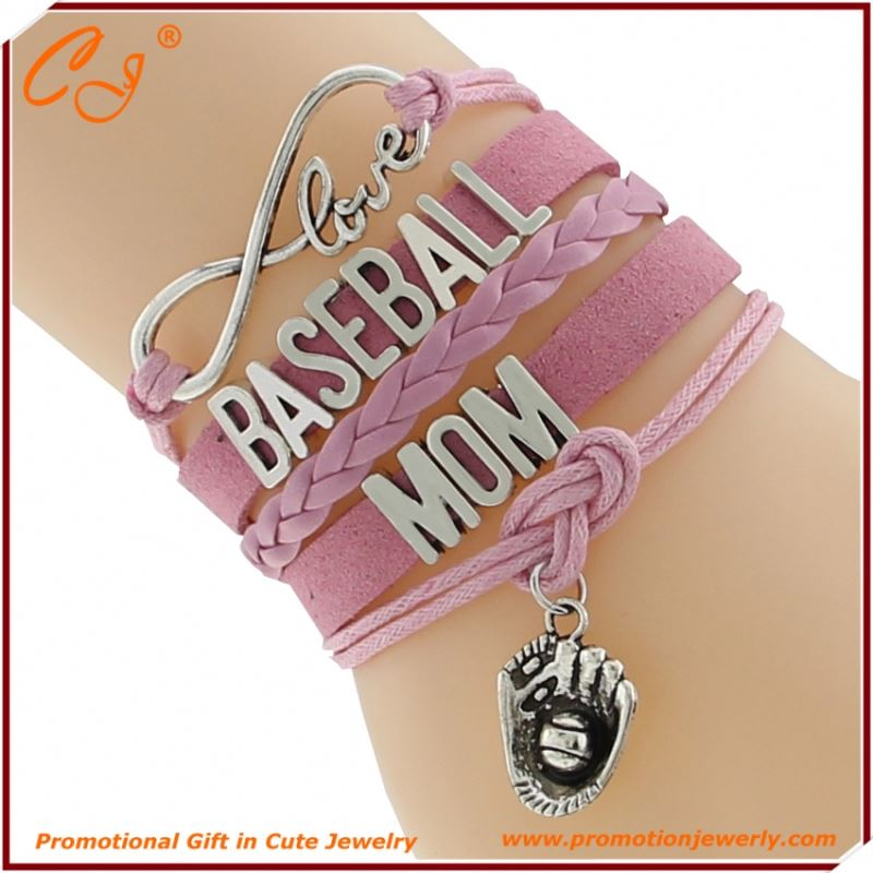 Baseball Mom Sport Charm Pink Charm Letter Combination Hand Chain
