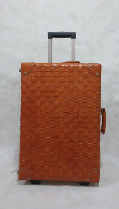 Genuine leather trolley travel luggage bag
