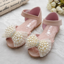 S32920W Children Princess Sandals Girls Pearl Flower dance shoes