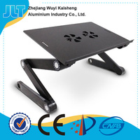 Aluminum adjustable computer desks for laptop with 5V USB powerful fans