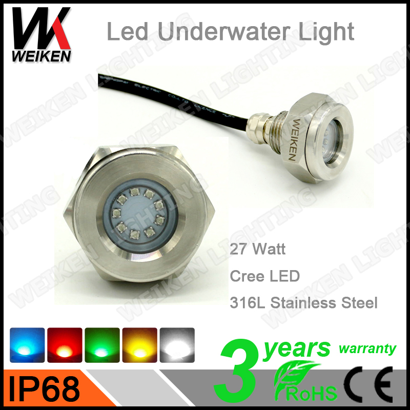 WEIKEN underwater bright led color lighting 27W bluetooth remote control 12v led black light for fishing boat