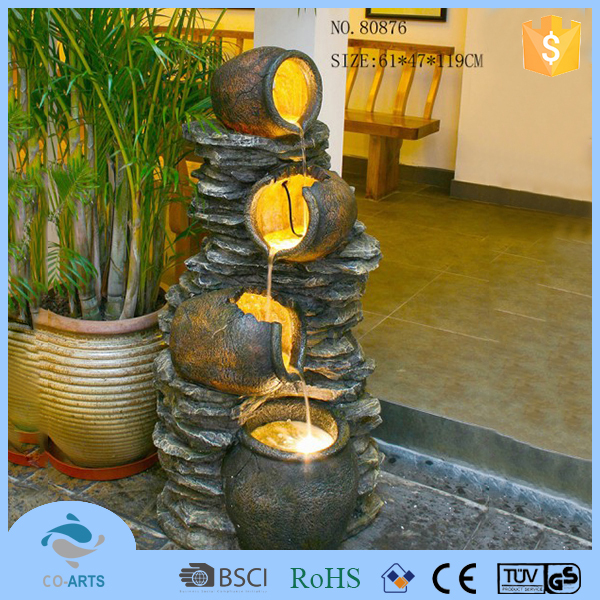 High quality home decoration resin led garden water fountain