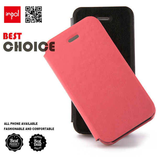 original sleek PU leather slim fit flip mobile phone pouch for iphone 4