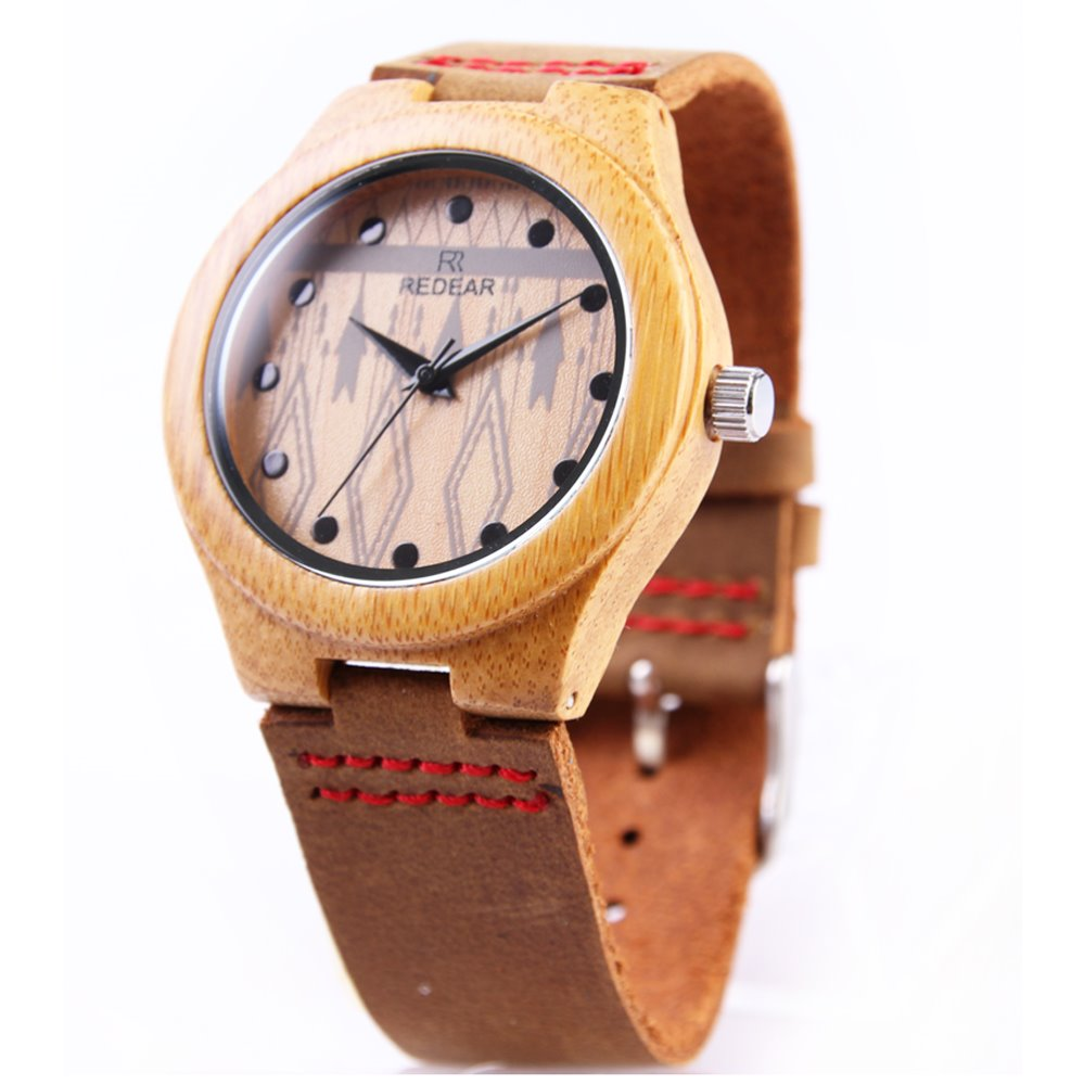 Redear Cost-effective High quality Vogue Leather Strap Bamboo Watch wooden Watch iwood creative cheap