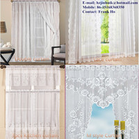 22 Years Factory With Hot Selling Floral Jacquard Sheer Lace Curtains Design halloween or Christmas curtains