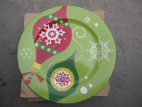 2014 promotional ceramic dinner plates with christmas santa decal porcelain plate