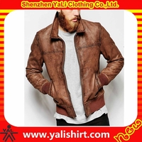 Customized made professional brown waterproof slim fit cheap urban leather biker jacket for men