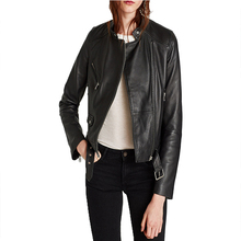 China Manufacturers Women Slim Fit Black PU Leather Small lapel Motorcycle Jacket With Belt