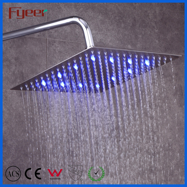 Hot Selling Ultra Thin Square Overhead Rainfall Shower China Stainless Steel Hydro Power Led Ceiling Shower Head with Light