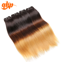 Wholesale Price Three Tone Remy Hair Extension Silky Straight Indian Human Hair Weave
