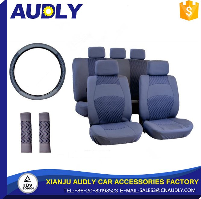 14pcs Luxury Car Seat Cover include safety belt and steering wheel