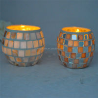 Handmade Shell cased Mosaic Glass Candle Holder