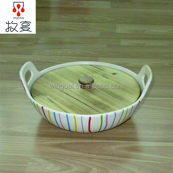 Chaozhou ceramic stripe wooden cover earthenware cooking pot