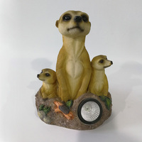 China supplier animal family crafts with solar light garden decoration resin meerkats