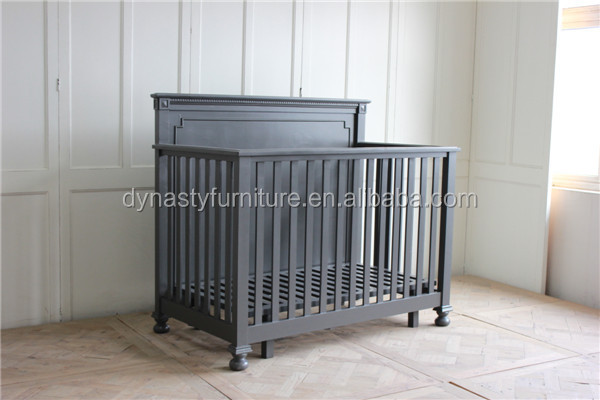 bedroom antique wooden furniture designs vintage black color baby bed indoor