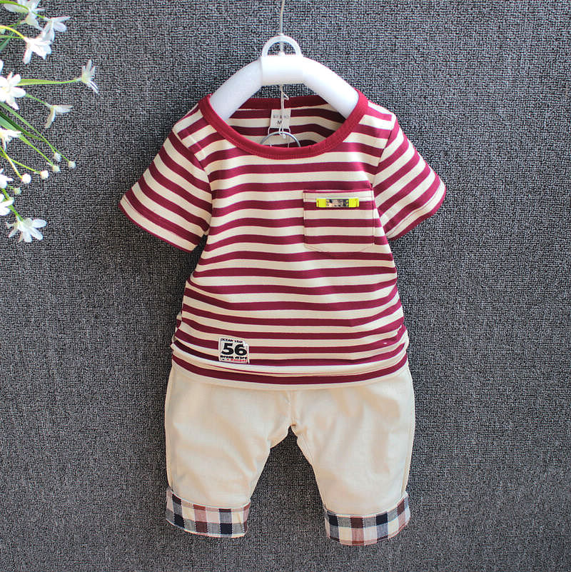 W6313 2017 Casual Boys Clothing Set Kids Clothes Short Sleeve Striped Sports Suit for Children