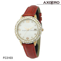 Hot sale diamonds leather watch vogue lady watch