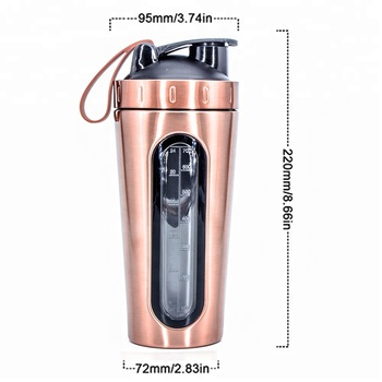 wholesale gold color tritan scaled with window 700ml stainless steel custom shaker water bottle