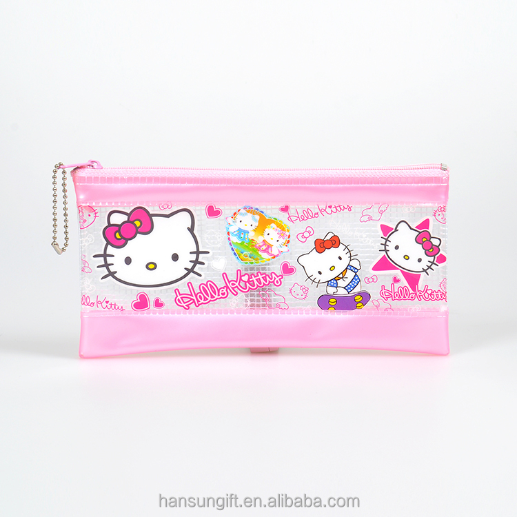 Promotional plastic pink transparent PVC cartoon PENCIL bag with zipper