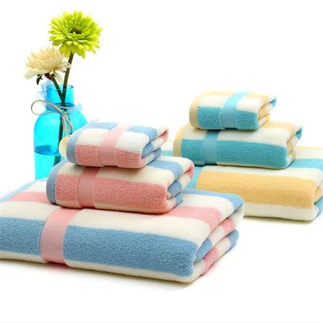 High quality thick wholesale 100% cotton terry towel set colorful stripe bath towels