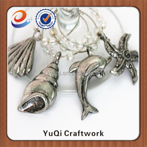 silver plated unique beach themed ocean sea animal wine charms