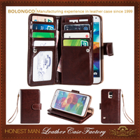 Unique design flip stand card wallet leather case for samsung galaxy s5 active wholesale