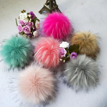 Popular accessory faux racoon fur ball fur charm pompom snap on faux fur pom pom