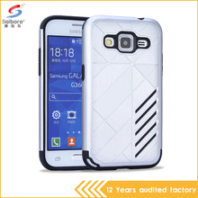 Fashion slim armor 2 in 1 silver color PC hard phone back cover for samsung galaxy core prime case