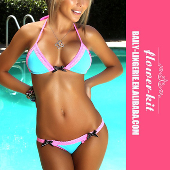 Factory Price Swimming-pool Shiny Silk Bikini